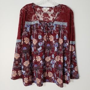 Entro boho bell sleeve floral and tree print top